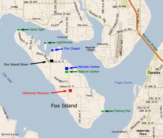 Interactive Map of Fox Island, WA